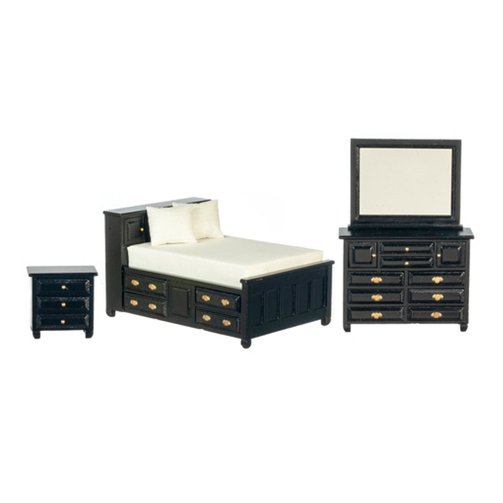 1 Inch Scale Dollhouse Double Bedroom Set in Black
