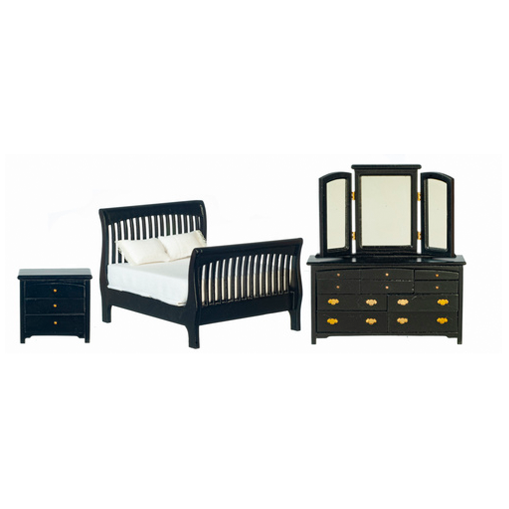 1 Inch Scale Modern Dollhouse Slatted Bedroom Set in Black