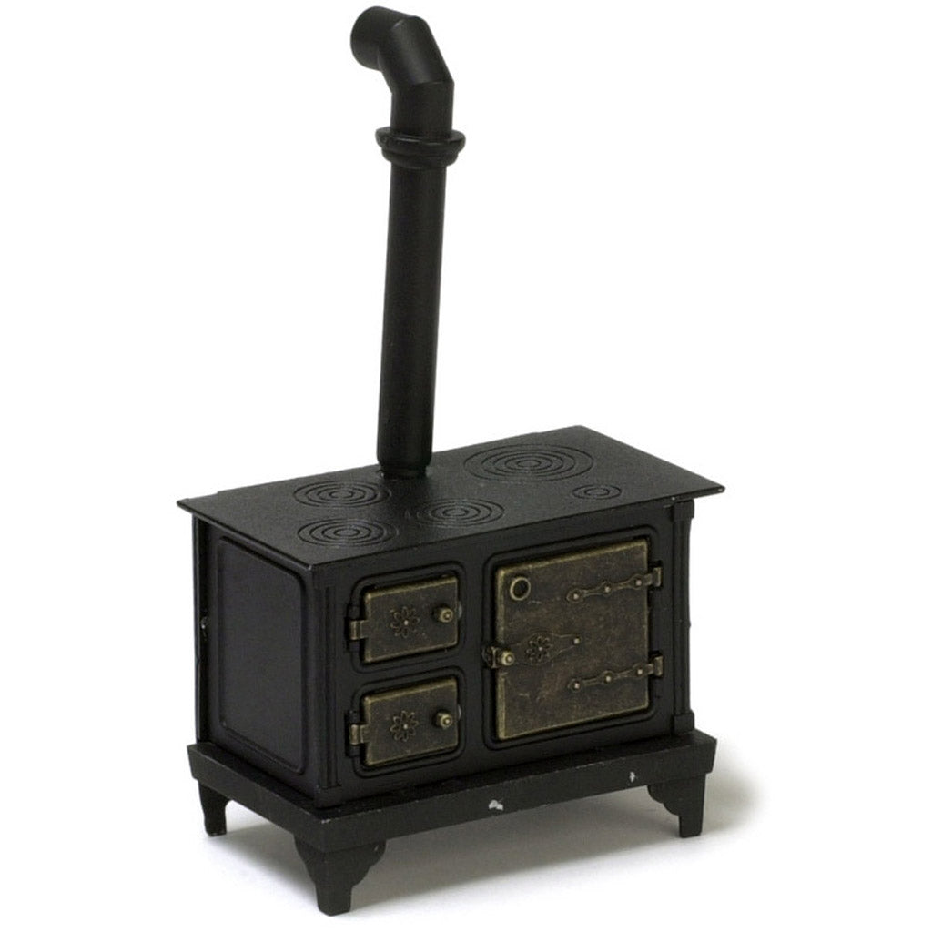 1 Inch Scale Dollhouse Miniature Black Metal Stove
