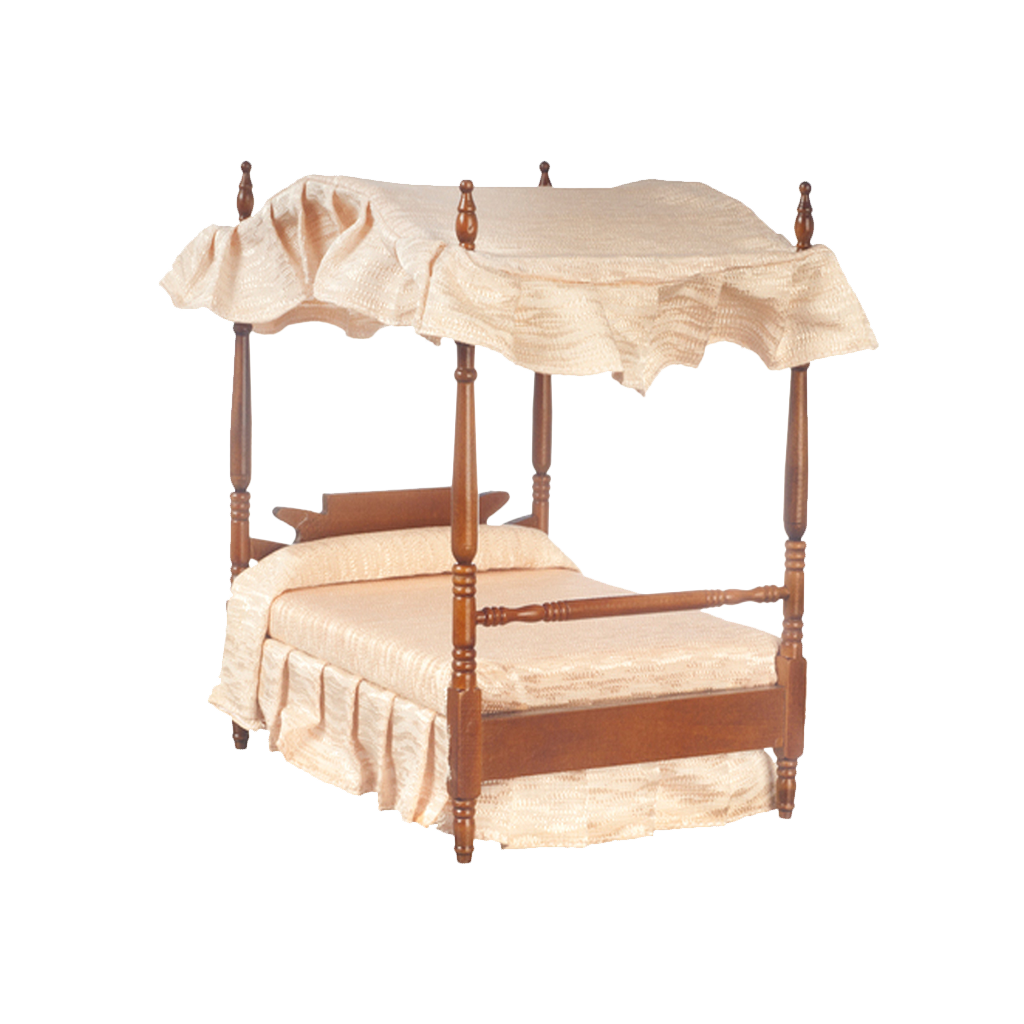 1 Inch Scale Walnut Dollhouse Canopy Bed with White Linen