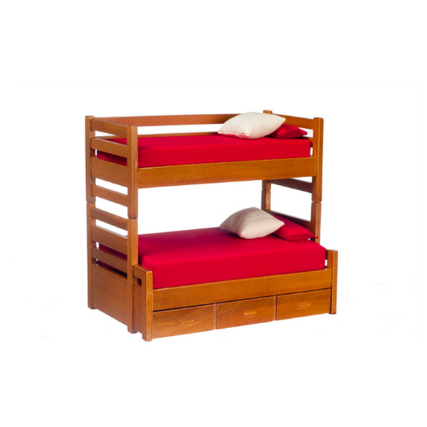 1 Inch Scale Modern Dollhouse Bunk Bed with Trundle in Walnut