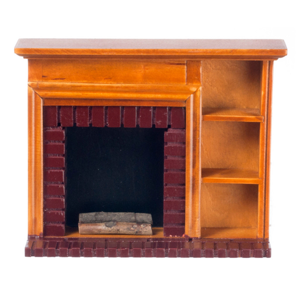1 Inch Scale Walnut Dollhouse Fireplace with Shelves and Logs