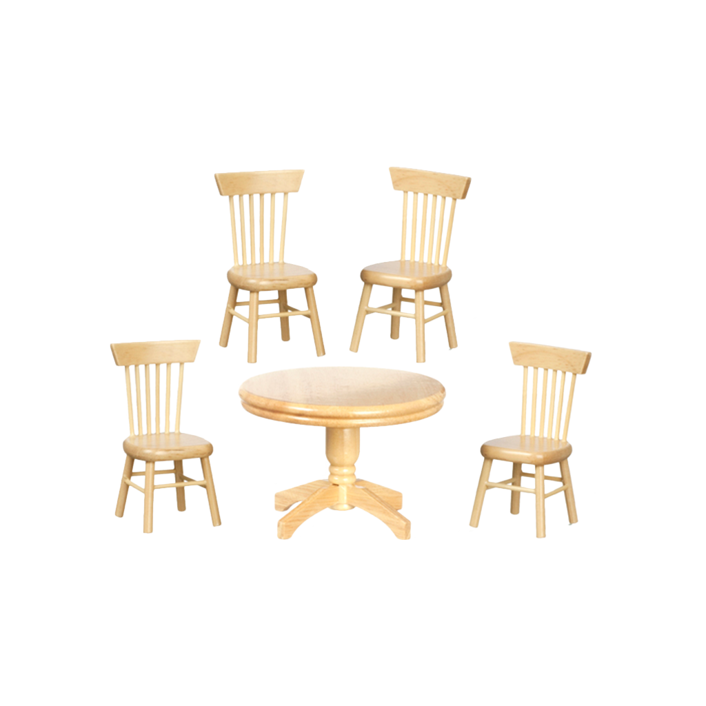 1 Inch Scale Round Table Oak Dollhouse Dining Room Set