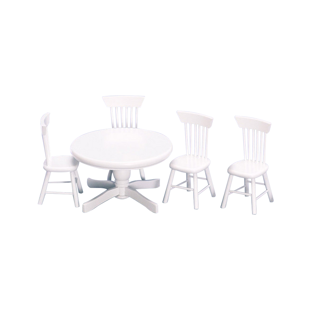 1 Inch Scale Round Table White Dollhouse Dining Room Set