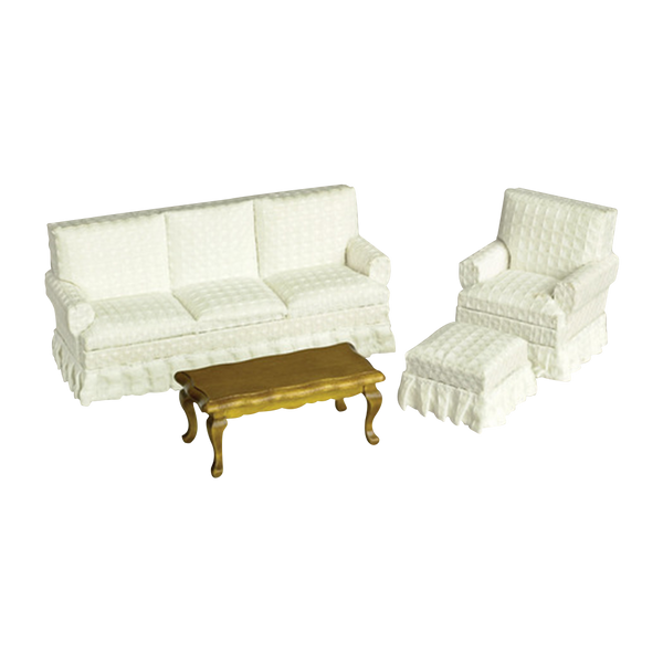 1 Inch Scale Dollhouse Living Room Set in White