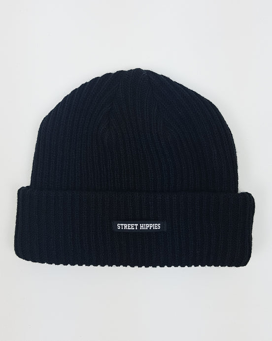 Striped Beanie Blacke