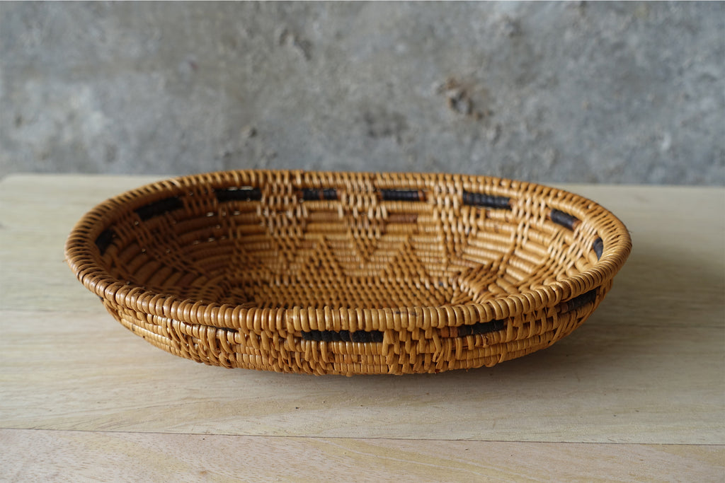 Woven Ata Reed Bowl - Oval with Black Detailing