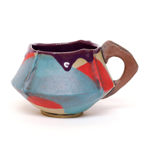 Red and Turquoise Handbuilt Mug by Sarah De Berry