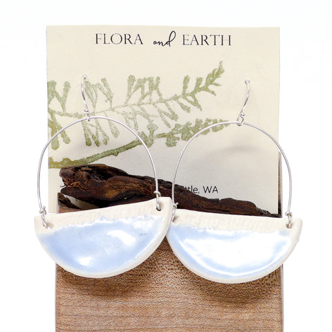 Small Ceramic Hoop Earrings by Flora and Earth Ceramics
