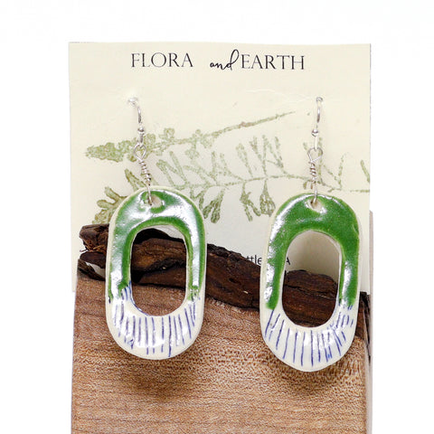 Oval Loop Ceramic Earrings by Flora and Earth Ceramics