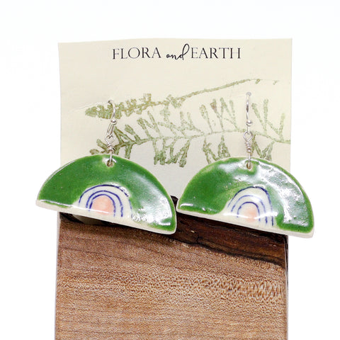 Rainbow Ceramic Earrings by Flora and Earth Ceramics