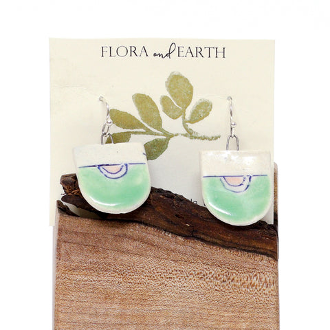 Half Oval Ceramic Earrings by Flora and Earth Ceramics
