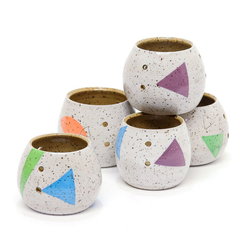White Speckled Tea Light Luminaries by Amanda Love