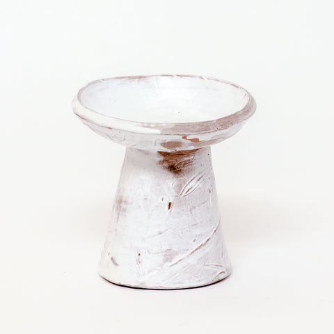 White Pedestal Pot  by Laura Skiles Bundy