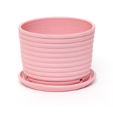 Pink Ribbed Planter