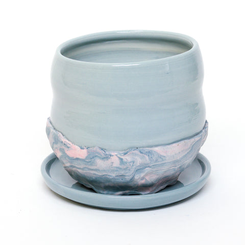 Marbled Planter with Plate by Coco Spadoni