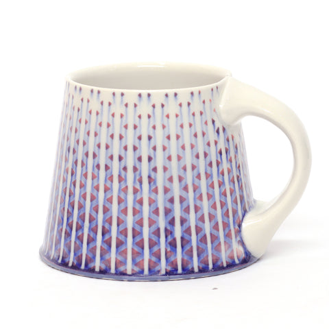 Red/Blue & White Hex Mug by Chris Hosbach