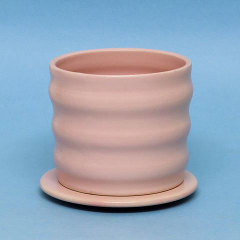 Pink Wiggle Planter with Plate by Taylor Callaway