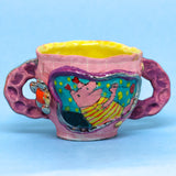 "Pink Grid and Flowers Double Handled Mug by Chanakarn ""Punch"" Semachai"