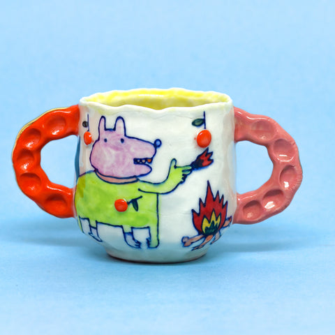 "Dino and Fire Double Handled Mug by Chanakarn ""Punch"" Semachai"