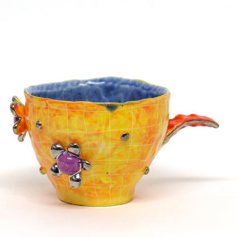 "Orange Grid Purple Flowers Mug by Chanakarn ""Punch"" Semachai"