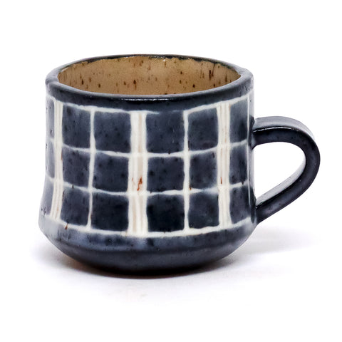 Indigo Plaid Mug by Ayame Ceramics