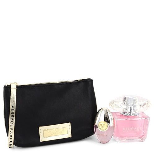 Bright Crystal  Versace Gift Set  3 oz EDT + 0.3 oz Mini EDT Spray + Black and Gold Pouch  Women - BUY BEAUTY PRODUCTS