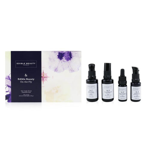 & Edible Beauty On The Fly Travel Mini Kit: Cleansing Milk 15ml+ Toner Mist 30ml+ Ageless Serum 10ml+ Hydrating Lotion 15ml - 4pcs