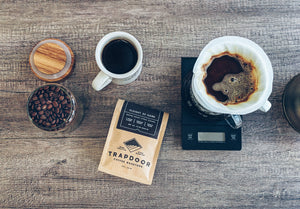 Fresh pour over coffee of Trapdoor Coffee Sleight of Hand Blend
