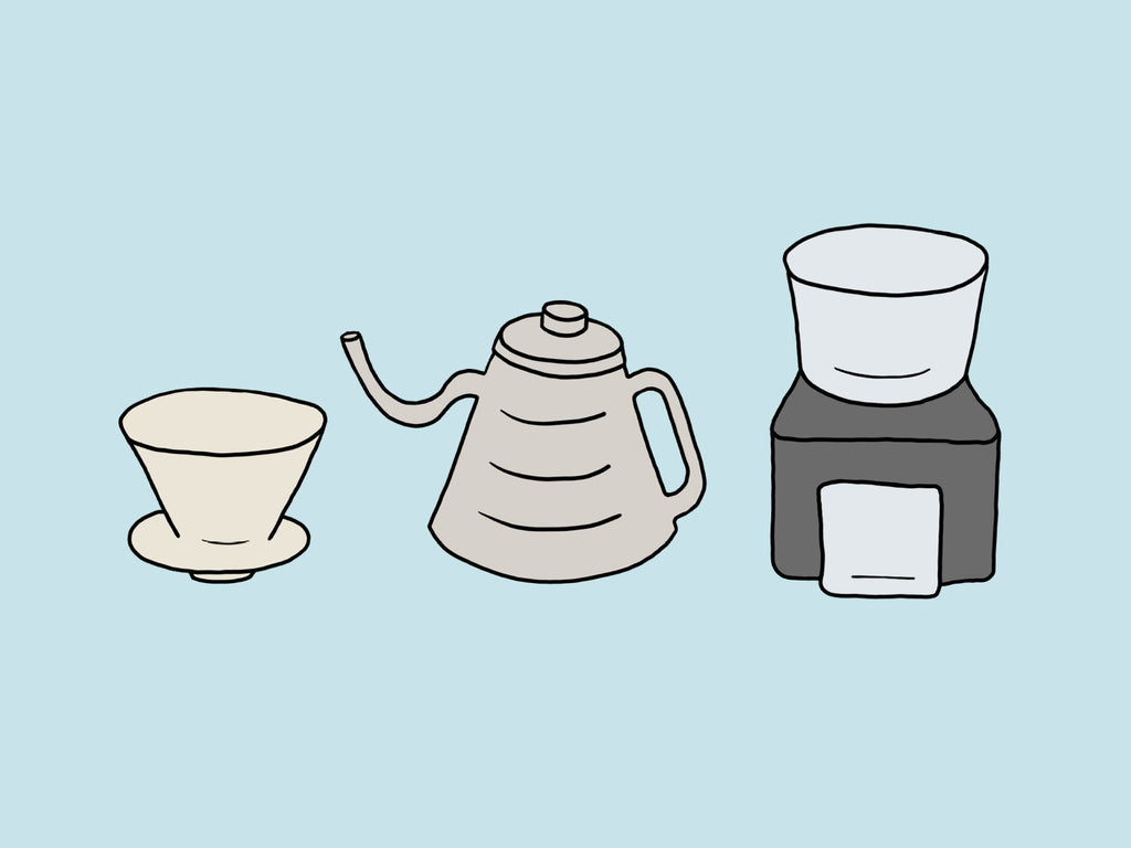 Coffee cone, kettle and grinder illustration