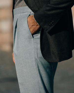 Light grey pair of regular fit wool cashmere trousers