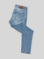 Light blue denim cotton 5 pocket trousers