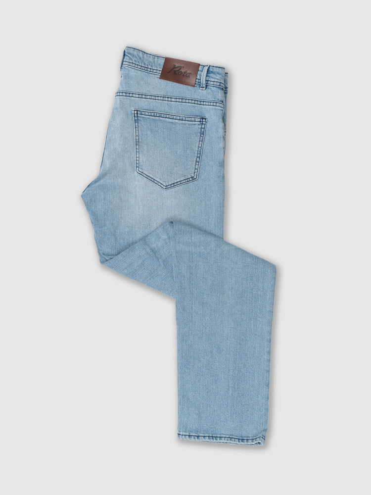 Sky blue denim cotton 5 pocket trousers