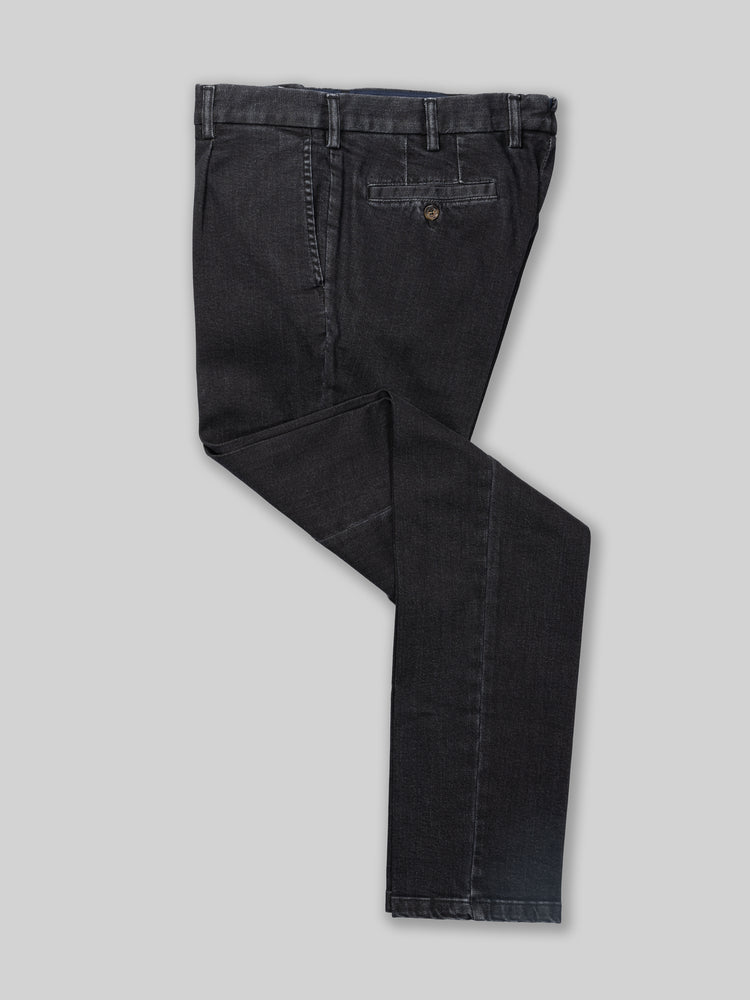 Black denim cotton sport trousers