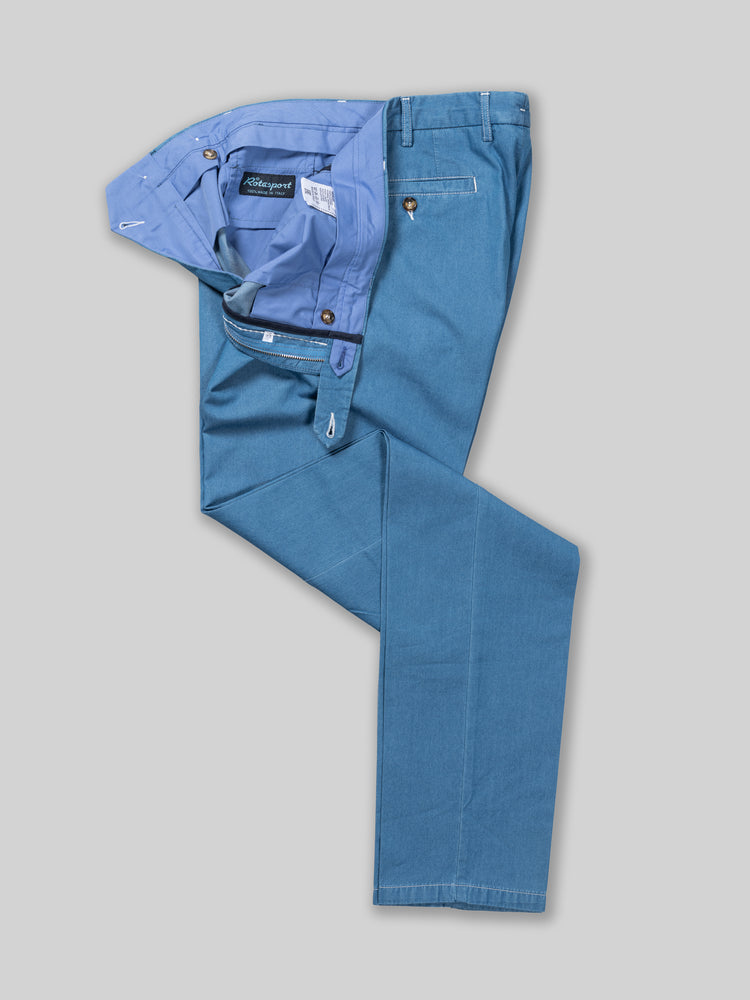 Light blue cotton denim chambray trousers