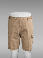 Khaki pair of regular fit cotton linen sport bermuda