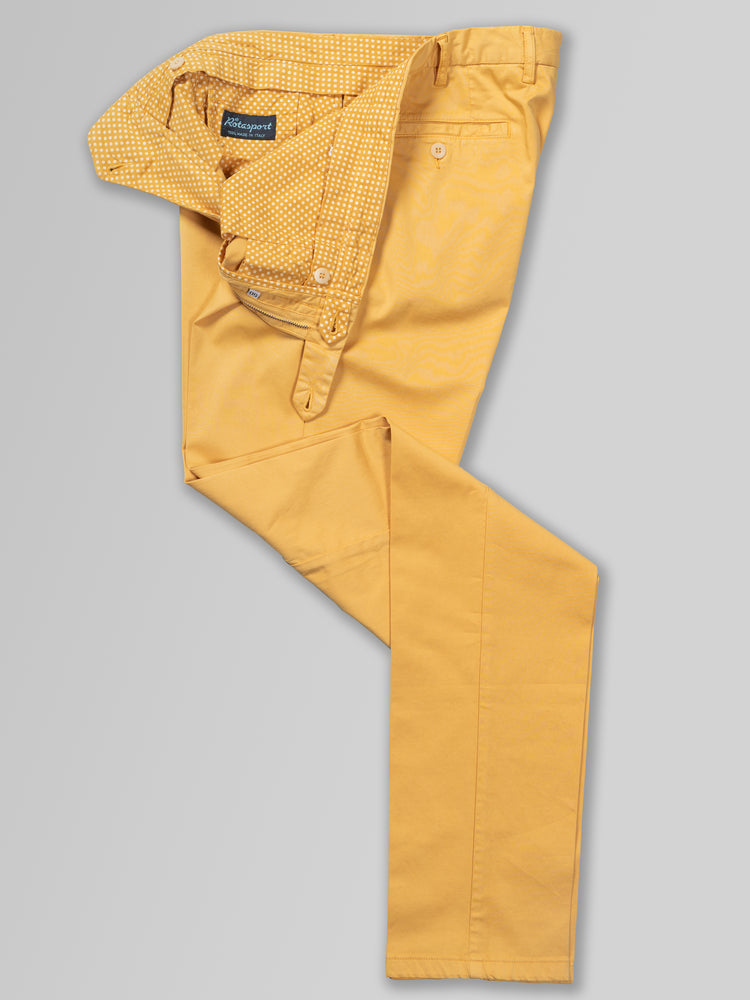 Mustard cotton silk sport trousers