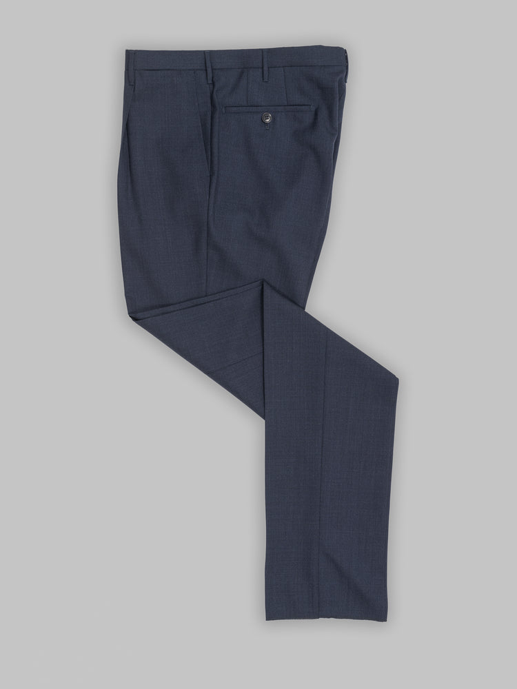 Dark blue pair of regular fit two ply wool trousers