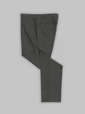 Green pair of regular fit wool trousers