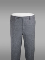 Grey pair of regular fit flamed effect piede de poule wool trousers