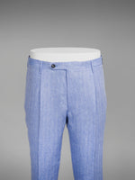 Light blue herringbone pair of regular fit linen trousers