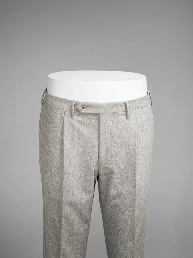 Light grey pair of regular fit wool flannel trousers