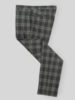 Green pair of regular fit winter check wool trousers