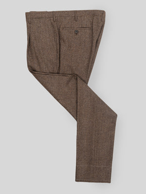 Brown pair of regular fit wool cashmere trousers
