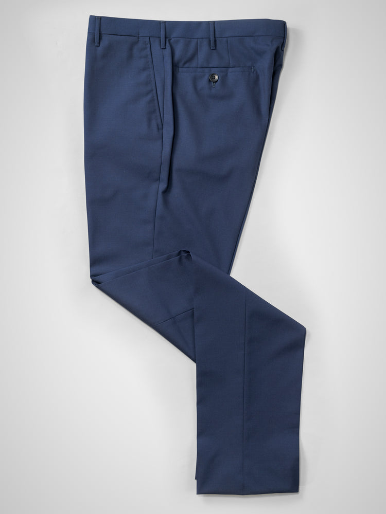 Medium blue pair of regular fit wool trousers