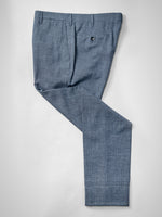 Dark blue pair of regular fit wool silk linen trousers