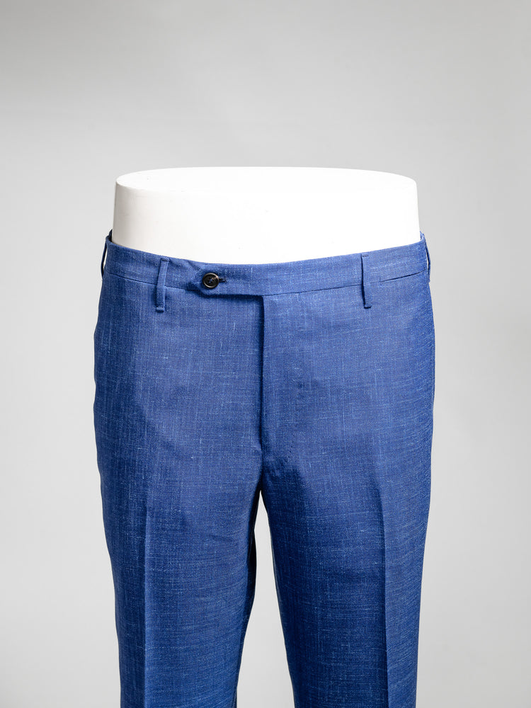 Medium blue pair of regular fit wool silk linen trousers
