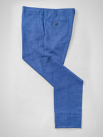 Medium blue pair of regular fit Loro Piana wool silk linen trousers