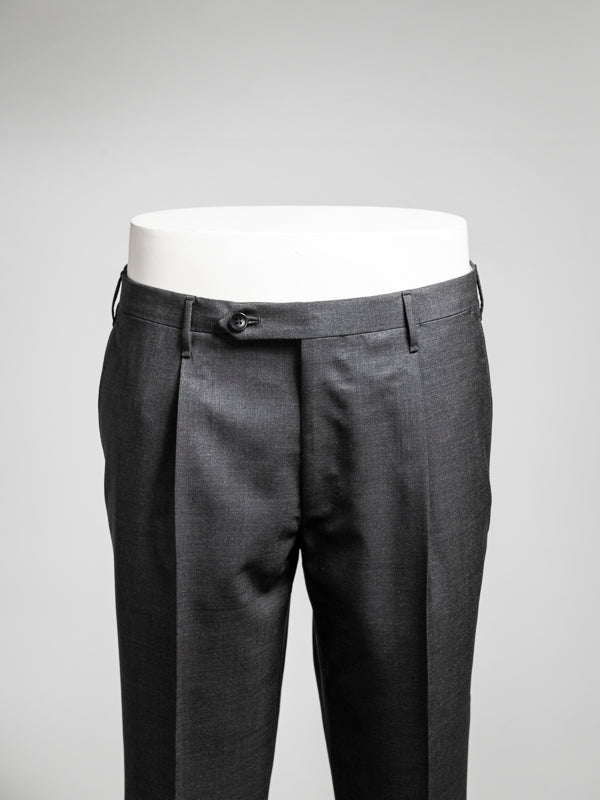 Grey pair of regular fit wool trousers
