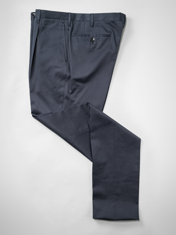 Dark blue pair of regular fit cotton trousers